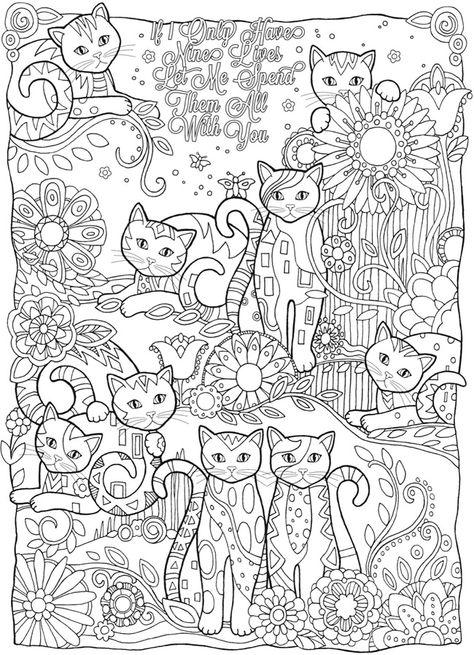 Раскраски для взрослых кошка