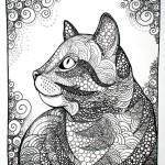 Картинка для раскрашивания кошка