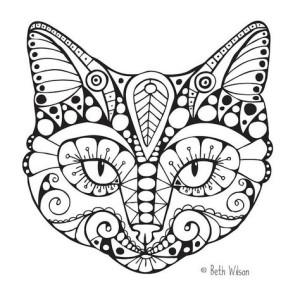 Антистресс раскраски кошачья морда