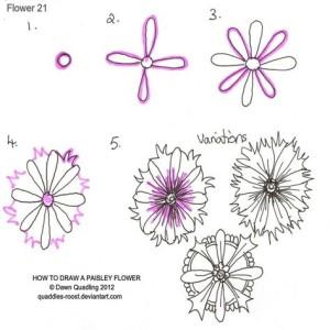 Зентангл узор цветы поэтапно