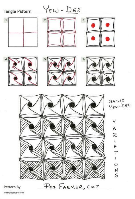 зентангл для начинающих схемы фото