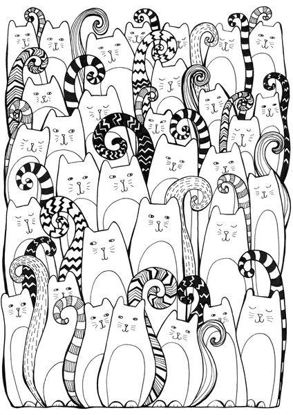 Антистресс раскраска кошки