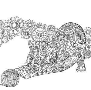 Антистресс раскраски кошка с клубком