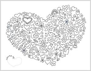 Раскраска сердце на 14 февраля