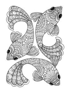 Картинки антистресс для раскрашивания - рыбки