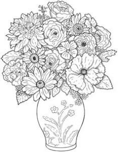 Картинки антистресс для раскрашивания - цветы в вазе