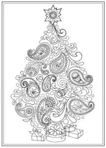 раскраска антистресс пушистая новогодняя елка