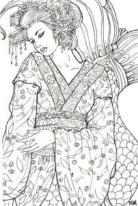 антистресс раскраска японская девушка