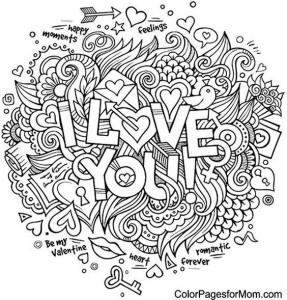 раскраска i love you
