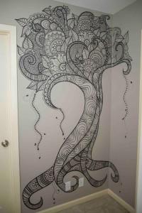 Монохромная роспись стен в интерьере