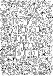 Красивая надпись раскраска. Делай больше того, что делает тебя счастливым