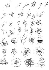 дудлинг цветы