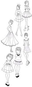 картинки для срисовки девушки в платьях