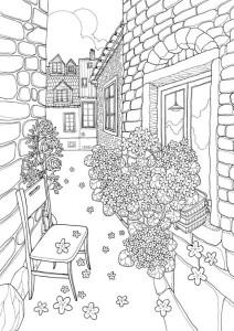 раскраска дворик