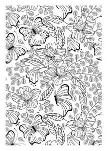 раскраска антистресс цветы и бабочки