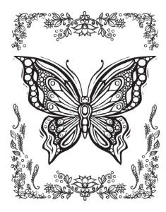 рисунок бабочки раскраска