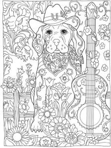 раскраска антистресс собака распечатать