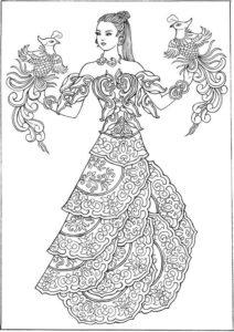 Раскраска девушка в платье