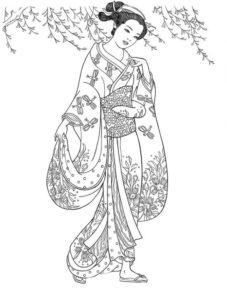 Раскраски антистресс девушки в платьях